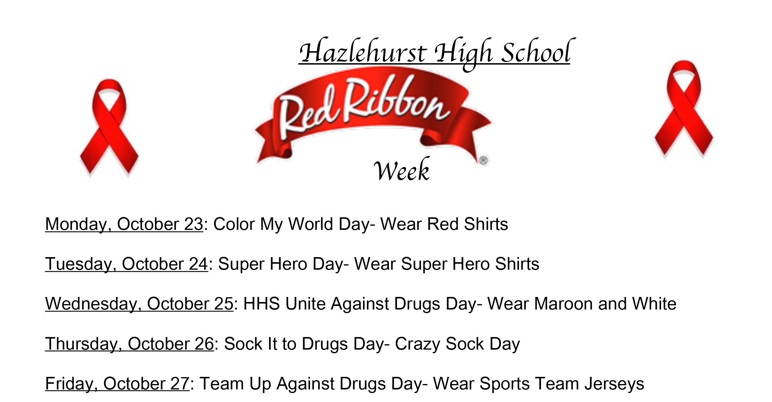 Hazlehurst High Red Ribbon Week